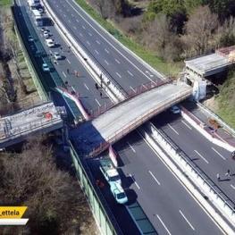 ریزش پل در بزرگراهی در نزدیکی شهر جنوا ایتالیا