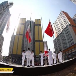 برافراشته شدن پرچم ایران در دهکده مسابقایی آسیایی – جاکارتا . اندونزی