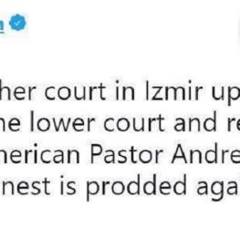 دادگاه استیناف در ازمیر (ترکیه) حکم دادگاه اولیه درباره ادامه بازداشت کشیش امریکایی، اندرو برانسن را تایید کرد