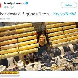 مردم شهر آدانا در ترکیه، در ۳روز پس از سخنرانی اردوغان برای کمک به حکومت ۱ تُن طلا به بازار ریختهاند
