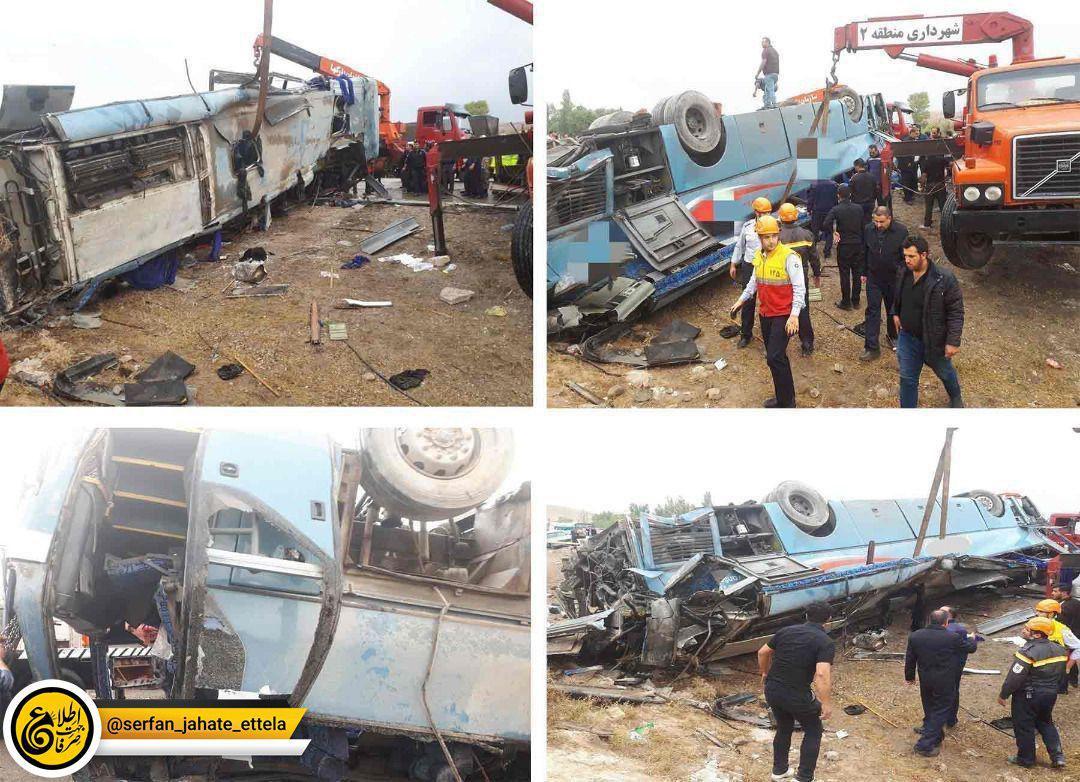 سه کشته و چندین مجروح براثر واژگونی اتوبوس حامل دانشآموزان در تبریز