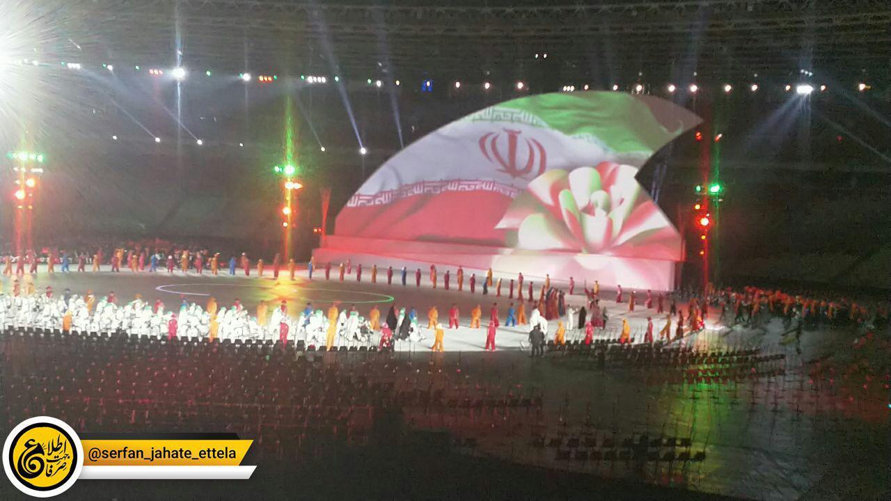 ورود کاروان ایران به مراسم افتتاحیه پاراآسیایی ۲۰۱۸ جاکارتا