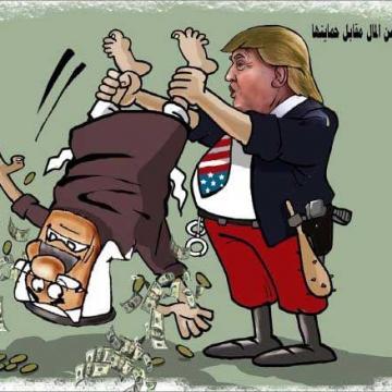 کاریکاتور القدس العربی درباره باجخواهی ترامپ از عربستان بابت حمایتهای آمریکا از این کشور