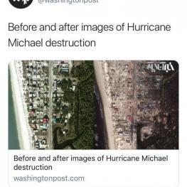 واشنگتنپست با انتشار این عکس، قبل و بعد از توفان مایکل را نشان داد