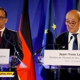 وزرای خارجه آلمان و فرانسه در جریان کنفرانس خبری مشترک در پاریس