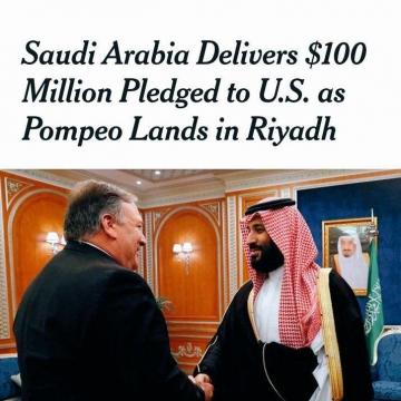 نیویورک تایمز نوشته، عربستان سعودی حداقل ۱۰۰ میلیون دلار به آمریکا و پمپئو پرداخت کرده