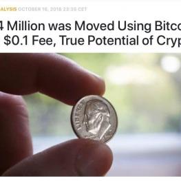 میلیون دلار با استفاده از بیت کوین با هزینه ۰.۱ دلار، منتقل شد