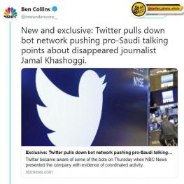توئیتر تعدادی از حساب های کاربران عربستان سعودی را که ربات و ترول تشخیص داده بود را حذف کرد