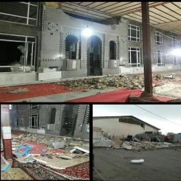 ساعاتی پیش طوفان موجب تخریب قسمتهایی از 'مسجد جامع جدید ثلاث باباجانی' شد