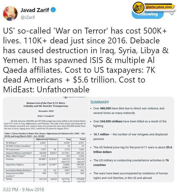 """ظریف: جنگ به اصطلاح """"مبارزه با تروریسم آمریکا""""، تاکنون جان بیش از۵۰۰ هزار نفر را گرفته است"""