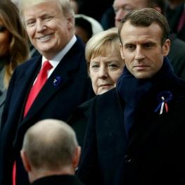 واکنش متفاوت مکرون، مرکل و ترامپ به هنگام مواجه با پوتین در پاریس مورد توجه رسانهها قرار گرفته است.