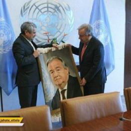 خوشرو نماینده دائم ایران در سازمان ملل متحد در دیدار خداحافظی خود با دبیرکل این سازمان