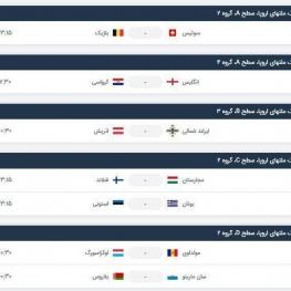 برنامه بازیهای امروز لیگ ملتهای اروپا