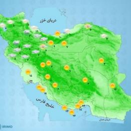 امروز،آسمان تهران کمی ابری، همراه با وزش باد و گاهی با وزش باد شدید پیشبینی میشود.