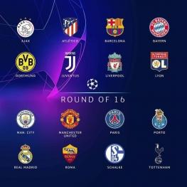۱۶ تیم صعود کرده به مرحله یک هشتم نهایی لیگ قهرمانان اروپا
