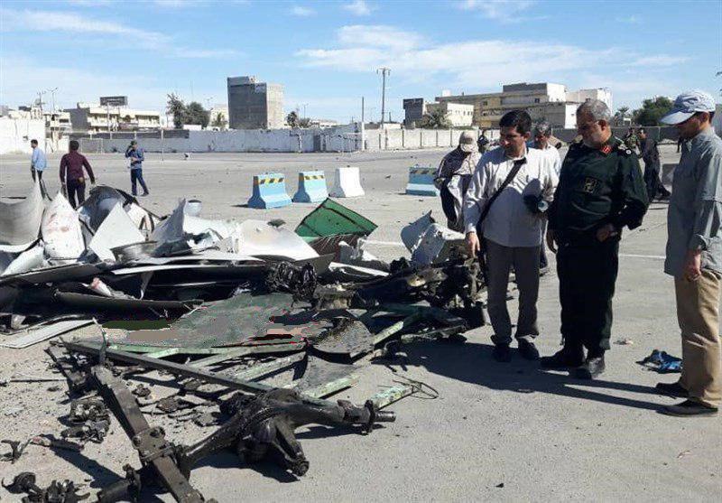 بقایای خودروی عامل انتحاری حمله تروریستی امروز چابهار