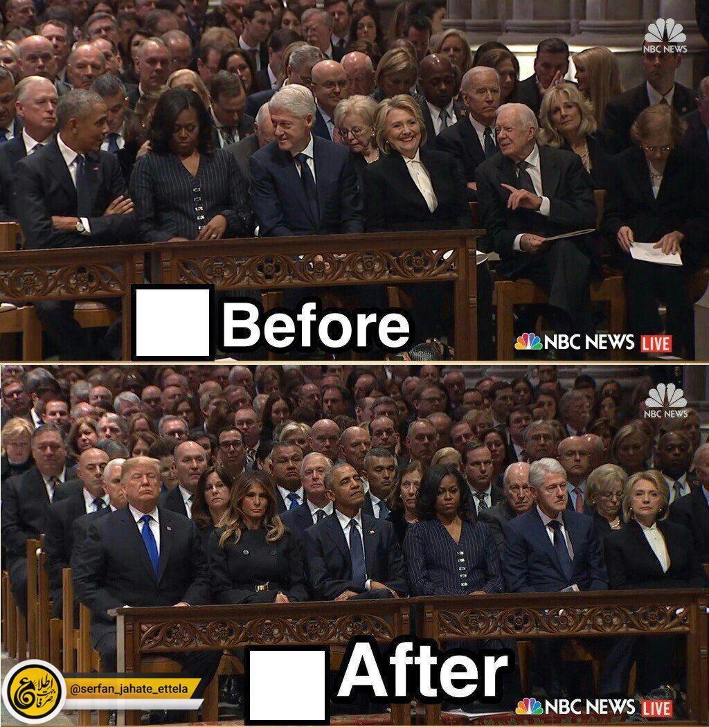 تغییر چهره روسایجمهور سابق آمریکا و همسرانشان پس از حضور ترامپ در مراسم تشییع جنازه بوشِ پدر