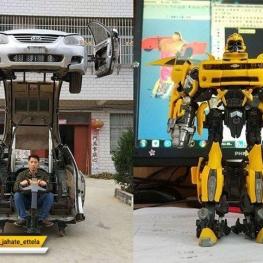 یک مرد چینی خودروی کیای قدیمی خود را از وسط بریده تا آن را به یک «ترانسفورمرز» در اندازۀ واقعی تبدیل کند