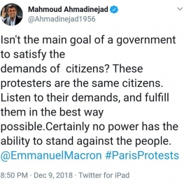 تذکر احمدینژاد به رئیس جمهوری فرانسه