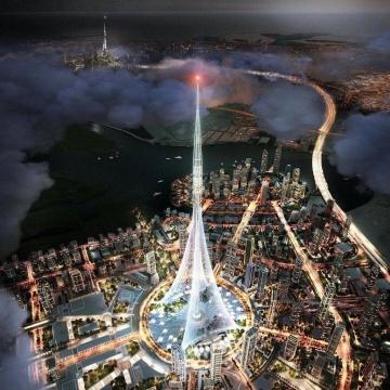 تصویر کامپیوتری از: برج خلیج دبی (Dubai Creek Tower)