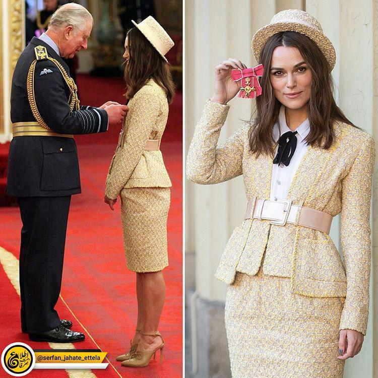 کایرا نایتلی مدال افتخار خدمات هنری و خیریه خود را از پرنس چارلز ولیعهد انگلستان دریافت کرد