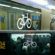 در متروی تهران پس از شناسایی واگن مناسب با تراکم کم مسافر برای تردد دوچرخههای معمولی و نصب نماد دوچرخه روی آن