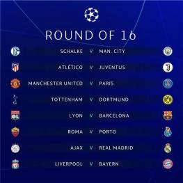 قرعه کشی مرحله یک هشتم نهایی  لیگ قهرمانان اروپا ۲۰۱۹