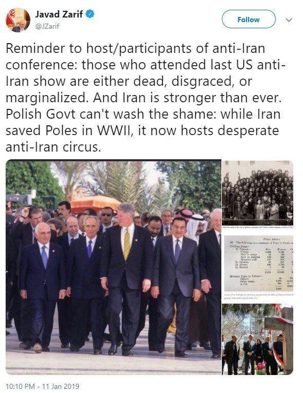 واکنش ظریف به نمایش ضدایرانی جدید آمریکا در «ورشو»