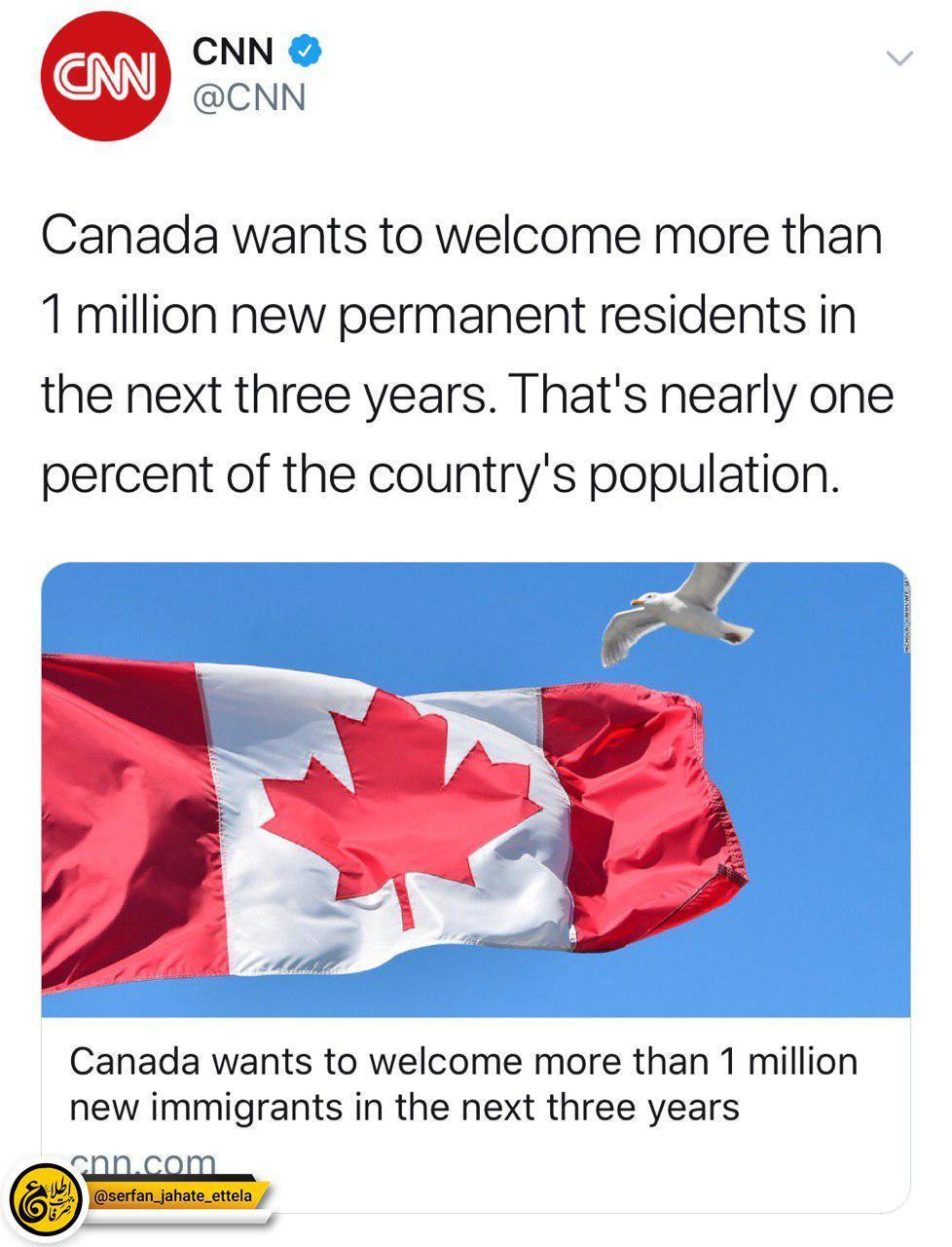 پذیرش ١ میلیون نفر به صورت اقامت دائم در کانادا تا ٣ سال آینده