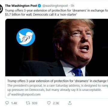 ترامپ پیشنهاد حمایت ۳ ساله از Dreamers  را مطرح کرد