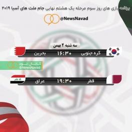 برنامه بازی های روز سوم مرحله یک هشتم نهایی جام ملت های آسیا ۲۰۱۹