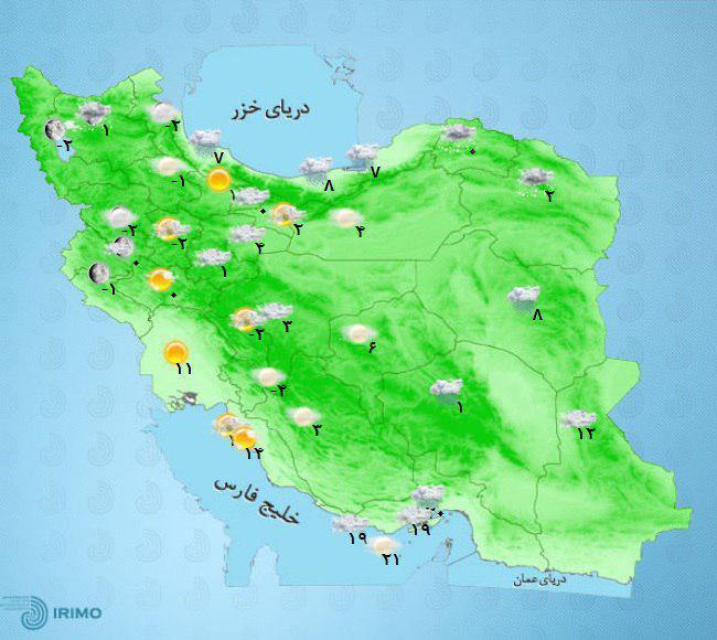 در شمال شرق بارش برف و باران و در شرق و جنوب شرق کشور بارش باران گاهی با رعد و برق رخ میدهد