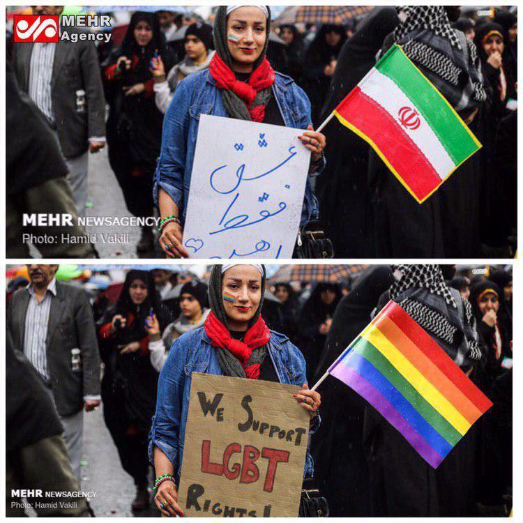 دیروز عکس عجیبی از حضور یک خانم حامی همجنسبازان در راهپیمایی ۲۲ بهمن به نام خبرگزاری مهر منتشر شد.