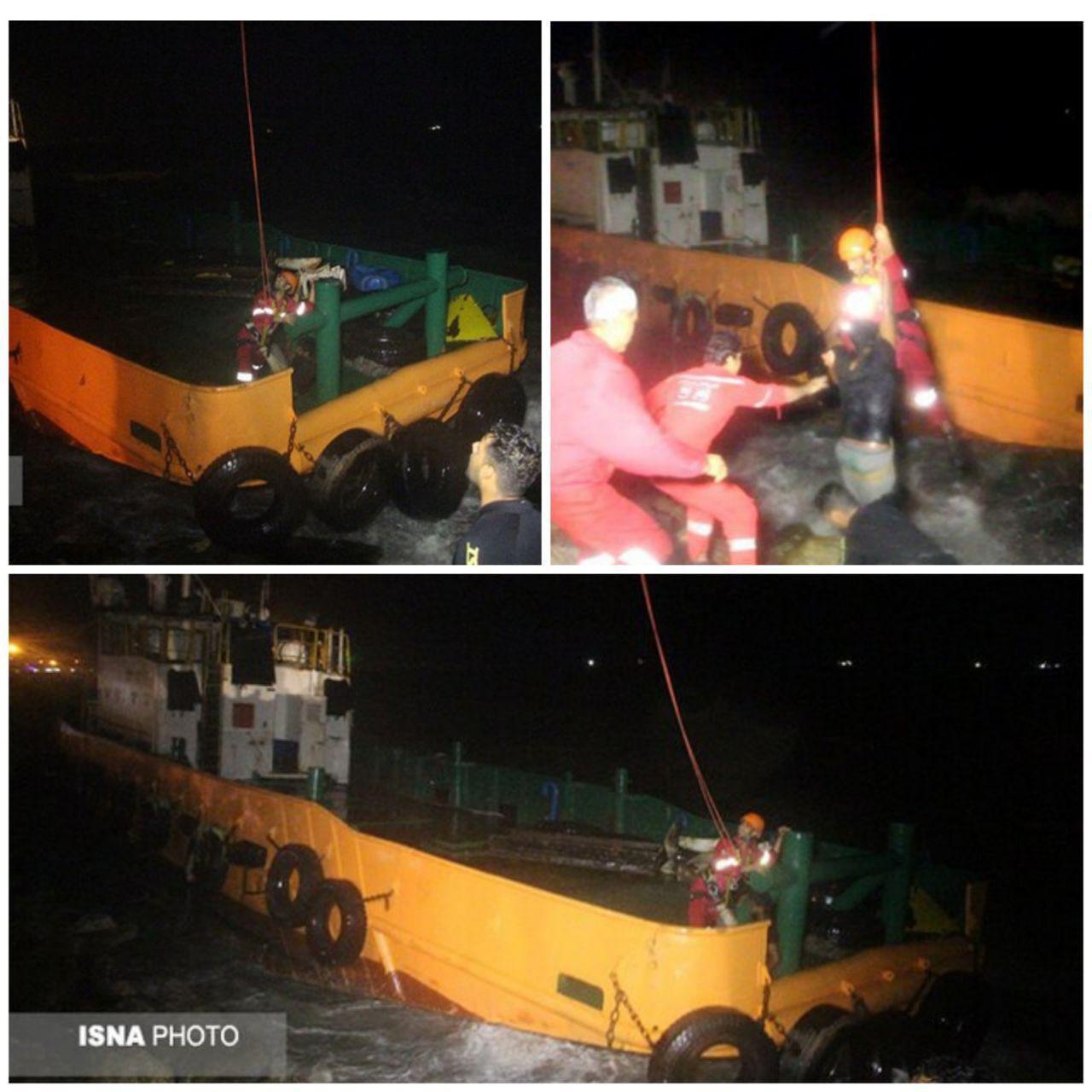 نجات جان ۹ نفر دریانورد گرفتار روی شناورهای به گل نشسته در پی طوفان شدید