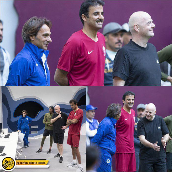 اینفانتینو، رییس فیفا در روز ملی ورزش قطر در این کشور به همراه امیر قطر پا به توپ شد