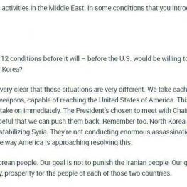 شرایط کره شمالی با ایران متفاوت است. آنها دارای بمب اتم هستند!