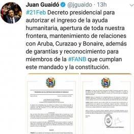خوان گوایدو نخستین دستور ریاستجمهوری خود را صادر کرد.