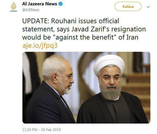 دو نما از حسن روحانی: مخالفت حسن روحانی، رییسجمهوری با استعفای محمدجواد ظریف به