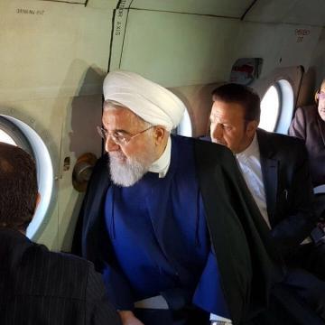 بازدید هوایی روحانی ازوضعیت پس از بارانهای اخیر در استان خورستان