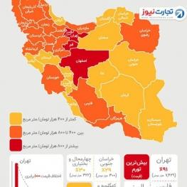قیمت زمین در استانها