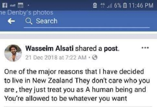 سه ماه قبل یک مسلمان اردنی تبار در فیس بوکش نوشت: نیوزلند را برای زندگی انتخاب کردم چون اینجا مهم نیست کی هستی