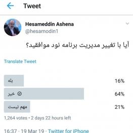 نظرسنجی آشنا درباره حذف فردوسی پور از برنامه ۹۰