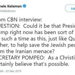 پمپئو:ترامپ در این برهه از سوی خداوند برای کمک به نجات یهودیان از تهدید ایران به زمین فرستاده شده