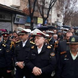 حضور رئیس پلیس راهور ناجا سردار هادیان فر در مراسم تشییع پیکر شهید مدافع وطن حسن دلاور
