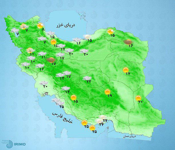 بارش باران بین ۱۵ تا ۲۵ میلیمتر در کردستان، کرمانشاه، زنجان، همدان، مرکزی، ایلام، لرستان