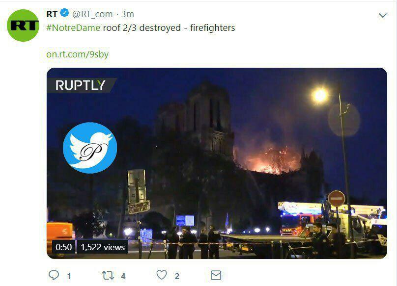 آتشنشانان فرانسوی میگویند دو سوم از بام اصلی کلیسا تخریب شده است