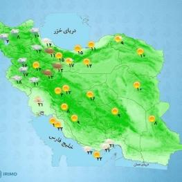 دمای هوا در شمال شرق بین ۷ تا ۱۰ درجه افزایش یافته و سپس اواخر وقت پنجشنبه روند کاهش دما در این مناطق پیشبینی میشود.