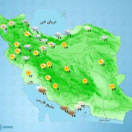 بارش باران گاهی با رگبار و رعدوبرق و وزش باد در شمال آذربایجان غربی، شمال آذربایجان شرقی، اردبیل، غرب گیلان پیشبینی میشود.