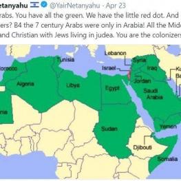 توییت جنجال برانگیز پسر نتانیاهو: کشور عربی به نام فلسطین وجود نداشته!