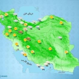 آسمان تهران نیمه ابری در برخی ساعات رگبار و رعد و برق و وزش باد شدید پیشبینی میشود
